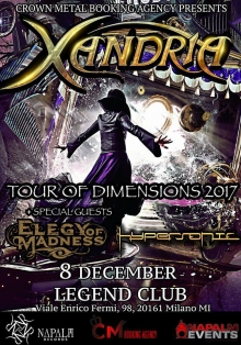 XANDRIA + ELEGY OF MADNESS + HYPERSONIC